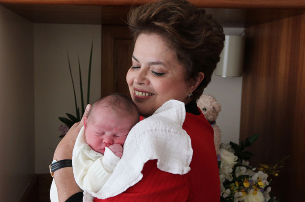 Brazilian Presidential Candidate Dilma Rousseff With Grandson Gabriel